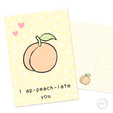 Polkadot-stationery-postcard-peach-kawaii-cute