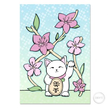 Postcard-lucky-cat by Dewy Venerius.