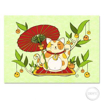 Poster-lucky-cat-parasol-webC by Dewy Venerius.