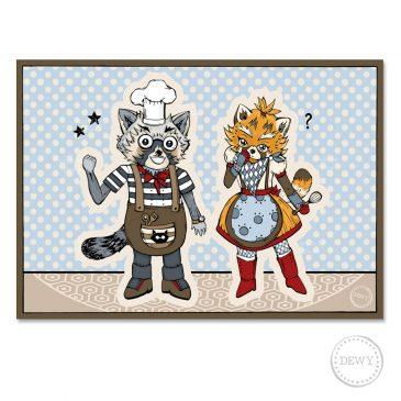 Postkaart-Red-Panda-Raccoon-chefB by Dewy Venerius.