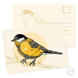 Koolmees postkaart wenskaart kaart ansichtkaart Nederland Holland Dutch Design Dewy Venerius