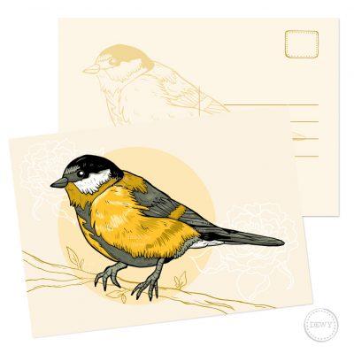 Postkaart A5 koolmees