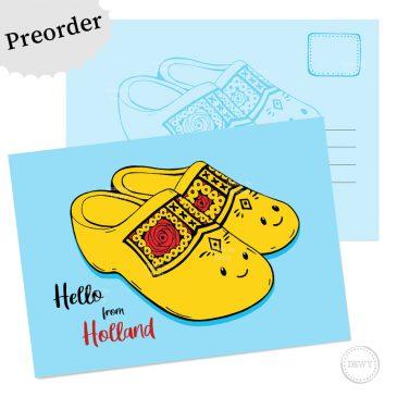 Preorder postkaart Klompen - Dewy Venerius