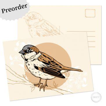 Mus Dutch Design Nederland Holland Musje vogel postkaart wenskaart ansichtkaart