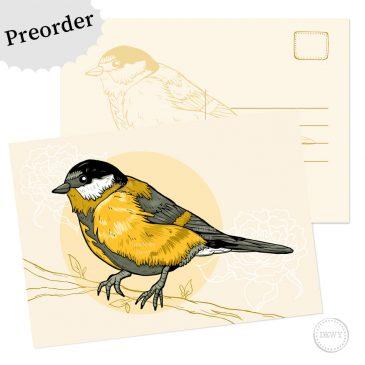 Dutch Design koolmees postkaart kaart wenskaart ansichtkaart Dewy Venerius