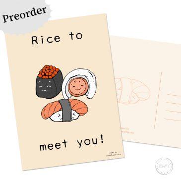 Preorder Sushi wenskaart rice to meet you