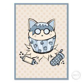 Raccoon-Trash-Panda-Cupcake-birthday-cardB by Dewy Venerius.