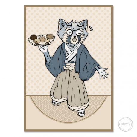 Raccoon-Trash-Panda-Kimono-illustrationB by Dewy Venerius.