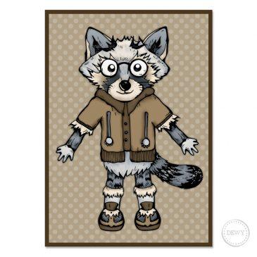 Raccoon-Trash-Panda-postcard4B by Dewy Venerius.