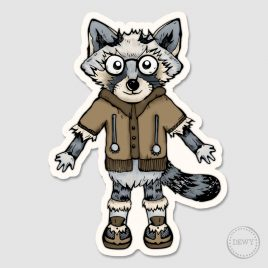 Raccoon-Trash-Panda-stickerB by Dewy Venerius.