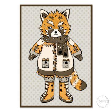 Red-Panda-Fox-kids-postcardB by Dewy Venerius.