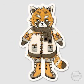 Red-panda-Foxy-sticker by Dewy Venerius.