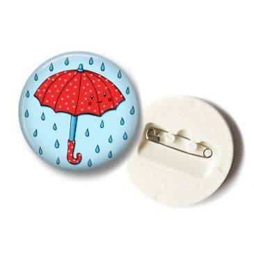 Rode-paraplu-button-klein by .