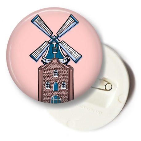Roze-button-speldje-Molen-Holland-Nederland by .