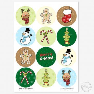 Schattige-kerststickers-merry-christmas-stickers-stickersheet-kerstmis by .
