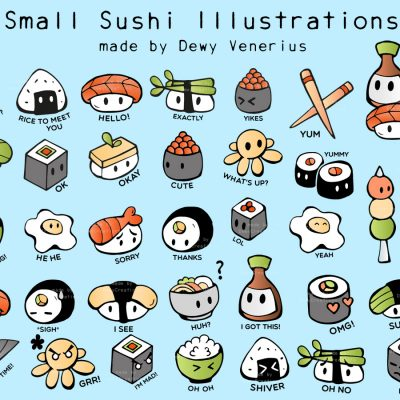 Small sushi character design illustrations