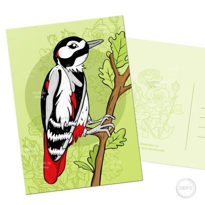 Nederlandse specht vogel A6 postkaart