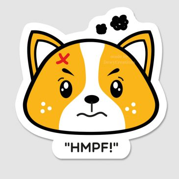 Sticker-boze-kawaii-corgi-hond-DewyCreations by .