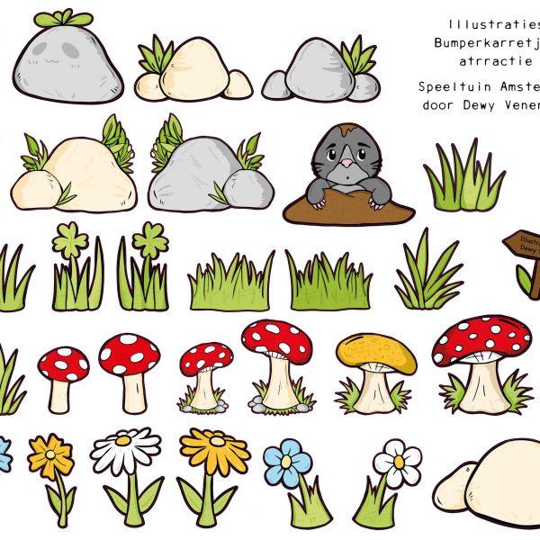 Sticker illustraties gras, stenen, bloemen en paddestoelen