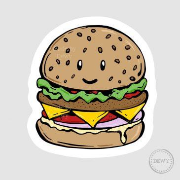 Sticker-kawaii-hamburgerB by Dewy Venerius.