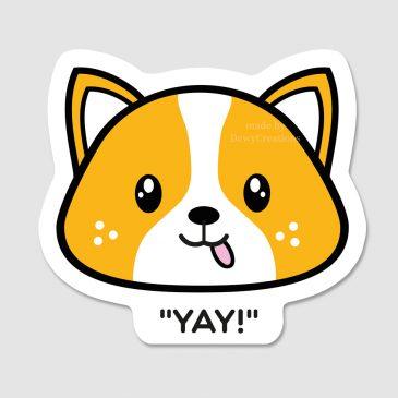 Sticker-kawaii-shiba-inu-corgi-yay by .