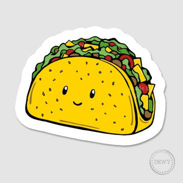 Sticker-met-taco3B by Dewy Venerius.
