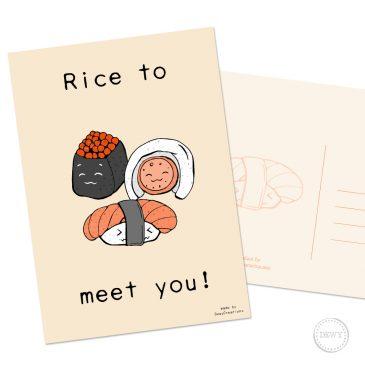 Sushi kaart Rice to meet you Japan kawaii Dewy Venerius