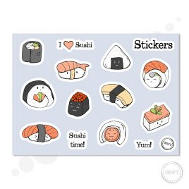 Sushi-sticker-sheetB by Dewy Venerius.