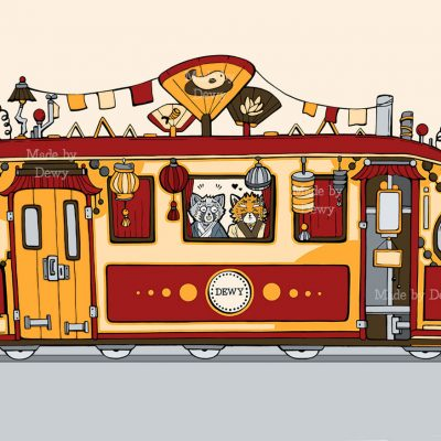 Asian Tram Illustration
