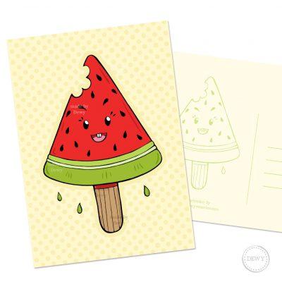 Watermeloen ijsje A6 postkaart