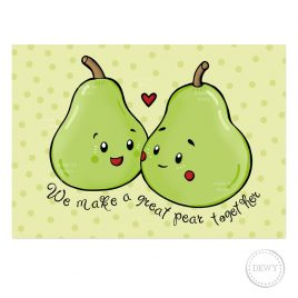 We-make-a-great-pair-funny-fruit-postcard-pear-DewyCreations by .