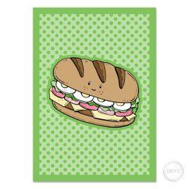 Wenskaart met broodje gezond by Dewy Venerius.