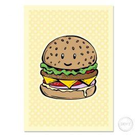 Wenskaart met hamburger by Dewy Venerius.