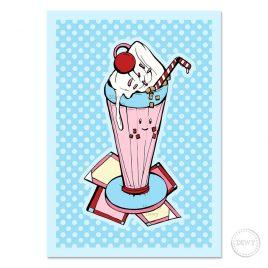 Wenskaart met milkshake by Dewy Venerius.