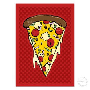 Wenskaart met pizza by Dewy Venerius.