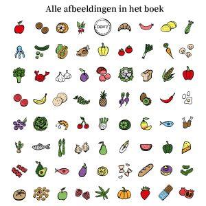 Afbeeldingen uit het boekje voedselverzameling, patroon.