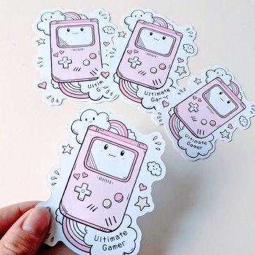 gamergirl-kawaii-pink-gameboy-sticker by .