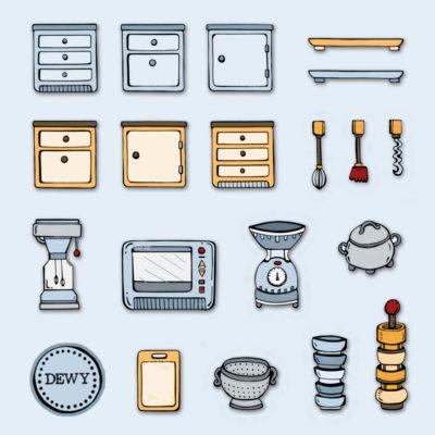 Illustratie keuken accessoires